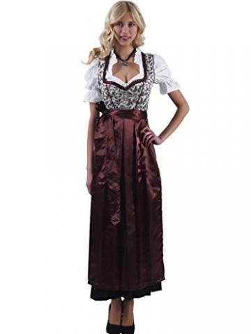 Alpenmärchen 3tlg. Dirndl-Set lang - Trachtenkleid, Bluse, Schürze, Gr. 54, braun - ALM746