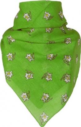 Feines Tuch mit Edelweiss in apfelgrün 53 X 53 cm