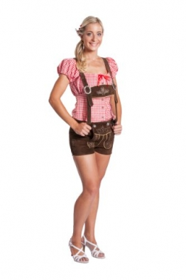 Damen Trachten Lederhose kurz mit Hosenträgern