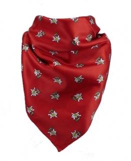 Feines Tuch mit Edelweiss in rot 60 X 60 cm