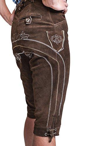 Herren Leder-Kniebundhose mit Trägern aus Rindsvelourleder