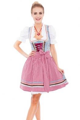 Krüger MADL Damen Dirndl Kleid 46735, Mini, Gr. 34, Mehrfarbig (blau - rot 809)