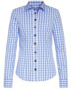 Trachten-Bluse von LODENFREY inhellblau und weiß