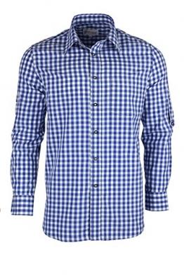 Blaues Trachtenhemd kariert mit Krempelärmeln