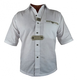 Trachtenhemd Herren Hemd Kurzarm, weiss