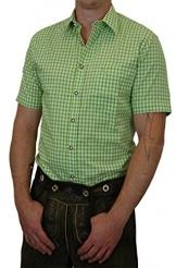 Trachtenhemd kurzarm kariert, apfelgrün
