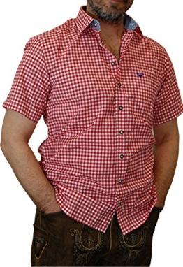 Trachtenhemd kurzarm, rot-weiss-kariert