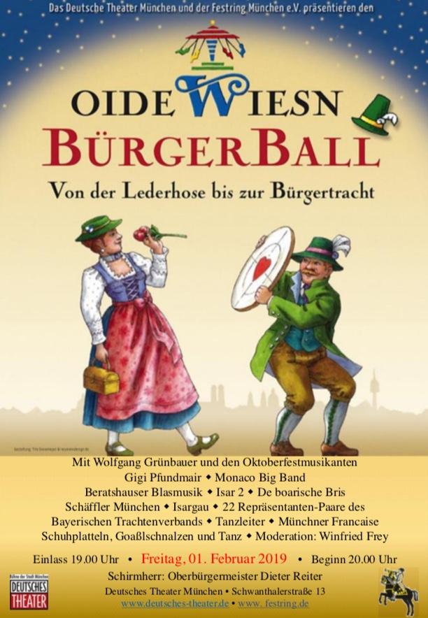 Programm Oide Wiesn Bürgerball 2019
